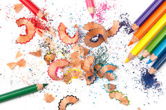 Multicolored pencils and shavings. On white background Stock Photo