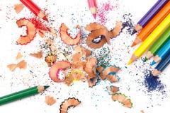 Multicolored pencils and shavings Stock Photo