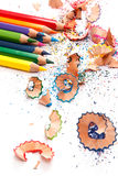 Multicolored pencils and shavings Royalty Free Stock Images