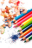Multicolored pencils and shavings Stock Image