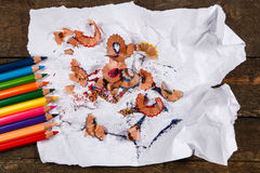 Multicolored pencils and shavings Stock Photos
