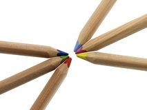 Multicolored pencils. Some pencils with different colors in white back Royalty Free Stock Photos