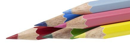 Multicolored pencils. Some pencils with different colors in white back Stock Photography