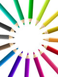 Multicolored pencils stacked circle isolated
