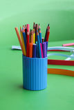 Multicolored pencils on the table Royalty Free Stock Photos