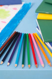 Multicolored pencils on the table Stock Image