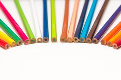 Color pencils on a white background Stock Images