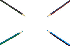 Multicolored pencils  on white background Royalty Free Stock Photos