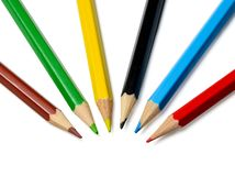 Multicolored pencils on white isolated background. Close-up. royalty free stock images