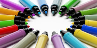 Multicolored Pens forming circle Royalty Free Stock Photo