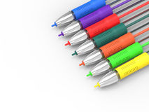 Multicolored Pens On White Copyspace Royalty Free Stock Photos
