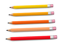 Multicolored pensils growing row Royalty Free Stock Images