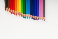 Multicolored pensils op het Witboek Terug naar School Royalty-vrije Stock Foto's