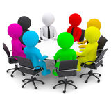 Multicolored people sitting at a round table Stock Photography