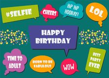Multicolored photo booth props set vector illustration. Collection of design elements with birthday party speech bubbles and jokes. Perfect for photobooth royalty free illustration