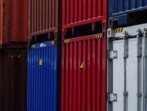 Multicolored pile of containers Royalty Free Stock Photography
