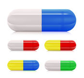 Multicolored pill capsules Royalty Free Stock Photography
