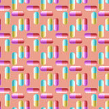 Multicolored Pill Capsules Seamless Background. Stock Photo