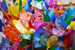 Multicolored Pinwheels. Many colorful pinwheels in an outdoor group Stock Images