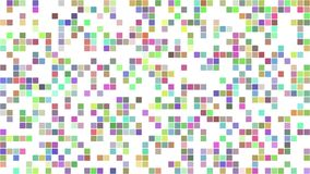 Multicolored pixel square mosaic background stock footage