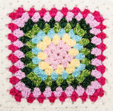Multicolored plaid square of crocheted Royalty Free Stock Photos