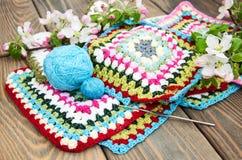 Multicolored plaidvierkanten van gehaakt Royalty-vrije Stock Foto's