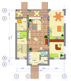 Multicolored Plan of 1 floor of house Stock Images