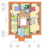 Multicolored Plan of 2 floor of house. Architectural Multicolored Plan of 2 floor of house with a placement of furniture Royalty Free Stock Photo