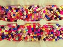 Multicolored plastic beads Stock Photo