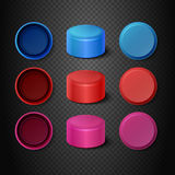 Multicolored plastic bottle caps vector set Stock Photography