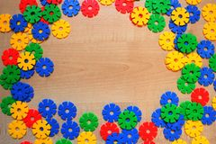 Multicolored plastic building blocks of the plastic meccano. royalty free stock images
