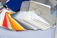 Multicolored plastic samples for manufacturing and ordering furniture. stock image