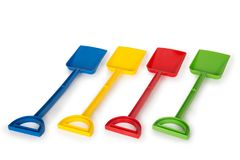Multicolored plastic toys stock images