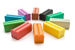 Multicolored plasticine with plastic knife Stock Photo