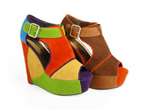 Multicolored platform wedges Royalty Free Stock Photography