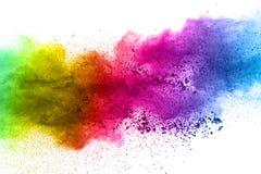 Multicolored poederexplosie op witte achtergrond Gekleurde wolk stock fotografie