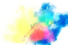 Multicolored poederexplosie op witte achtergrond Gekleurde wolk royalty-vrije stock foto
