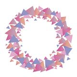 Multicolored positive cute graphic vector wreath of pink blue lilac gradient triangles of girlish pastel shades isolated object on. Multicolored positive cute stock illustration