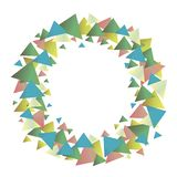 Multicolored positive graphic vector wreath of green blue red yellow glowing gradient triangles isolated object on a white. Multicolored positive graphic vector royalty free illustration