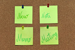 Multicolored post it notes with different messages Stock Image