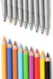 Multicolored potloden en tellers Stock Afbeeldingen