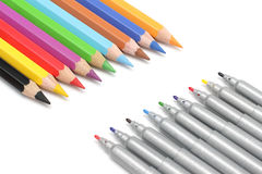 Multicolored potloden en tellers Stock Afbeelding