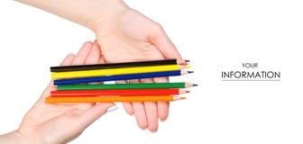 Multicolored potloden in hand patroon Royalty-vrije Stock Afbeeldingen