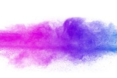 Multicolored powder explosion on white background. Colored cloud. Colorful dust explode. Paint Holi. abstract multicolored dust splatter on white background Royalty Free Stock Photos