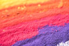 Multicolored powder pigments background. Selective focus Royalty Free Stock Photos