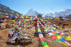 Multicolored Prayer Flags Ama Dablam Peak Stock Image