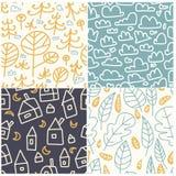 Multicolored pret naadloos patroon Heldere en grappige achtergrond De abstracte naadloze textuur kan voor textiel en stof worden  Stock Afbeeldingen