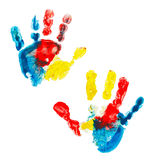 Multicolored prints of children's hands isolated on white background Royalty Free Stock Photography