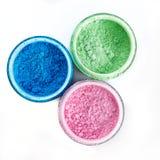 Multicolored professional powder eye-shadows on white background Stock Photos
