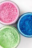 Multicolored professional powder eye-shadows on white background Stock Photography